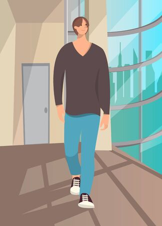 Relaxed casual man walking .Full body length portrait isolated  background..Vector illustration.