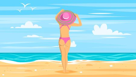 Summer vacation vector illustration. Woman in wide-brimmed hat is admiring sea landscape.
