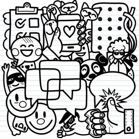 Hand drawn business idea doodles icons set. Vector illustration