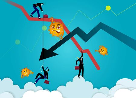 Stock Markets plunge from novel COVID-19 virus fear. world investment price fall down or collapse from outbreak of Coronavirus. Business concept vector illustration. Chart Falling businessman and falling down arrow. Crisis graphic. Business fail.