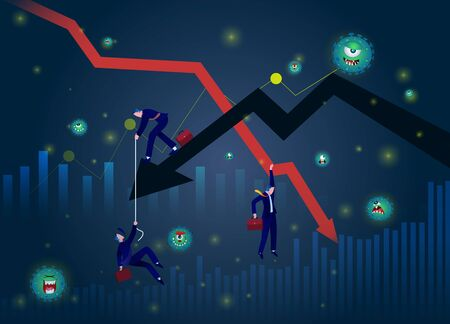 Stock Markets plunge from novel COVID-19 virus fear. world investment price fall down or collapse from outbreak of Coronavirus. Business concept vector illustration. Chart Falling businessman and falling down arrow. Crisis graphic. Business fail. Ilustración de vector
