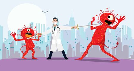 Vector illustration fight covid-19 corona virus. cure corona virus. Doctor fight virus concept. corona viruses vaccine concept. end of 2019-ncov. don't be afraid of the corona virus concept.