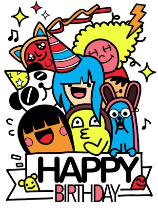 Happy birthday vector design with smileys wearing birthday hat , for party and celebration. Hand Drawn Vector Illustration of Doodle, illustrator line tools drawing,Flat Design Vettoriali
