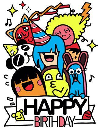 Happy birthday vector design with smileys wearing birthday hat , for party and celebration. Hand Drawn Vector Illustration of Doodle, illustrator line tools drawing,Flat Design Vektoros illusztráció