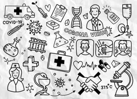 Coronavirus hand drawn doodle collection. Health Care icon, Corona Virus Disease (COVID-19) infographic design element vector illustration.