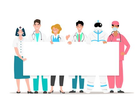 The happy medical team holding a white signboard with a space to copy text-banners for health advertisements. Vector illustration in flat line style