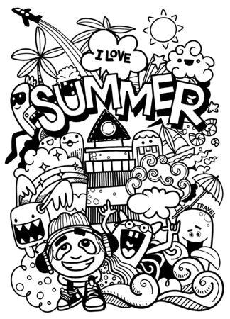 Vektor-Illustration mit handgezeichneten Gekritzel niedlichen Monster und Sommerelementen Vektorgrafik