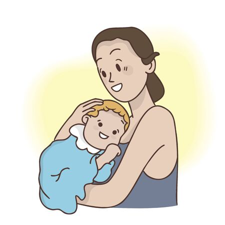 Mother hugging with her little baby, hand drawn style , minimal doodle design illustrations