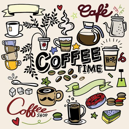 Coffee doodle concept - sketch illustration about coffee time. Vector coffee background with doodle sketch illustration of cafe beans, beverage details - cup, pot, glass, cinnamon, syrup for Cafe menu Иллюстрация
