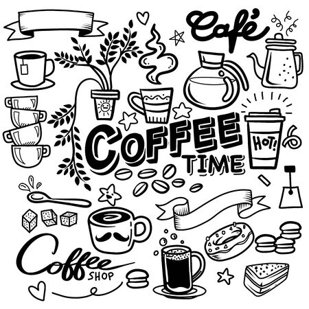 Coffee doodle concept ,sketch illustration about coffee time. coffee background with doodle sketch illustration of cafe beans, beverage details - cup, pot, glass, cinnamon, syrup for Cafe menu, Black and white  illustration for coloring book Иллюстрация