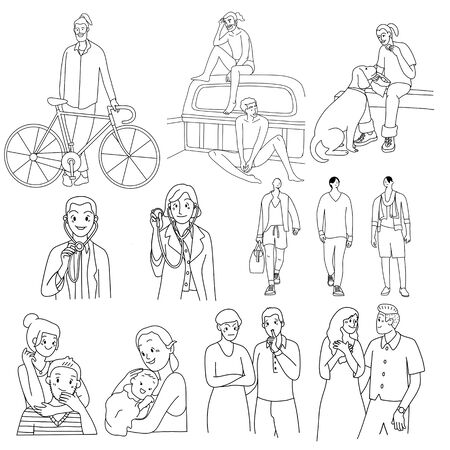Crowd of people activities ,thin line ,walking dogs, riding bicycle, sdoctor. couple,mom and son, Group of male and female on white background. illustration. Ilustración de vector