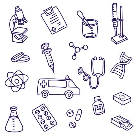 The cutest doodle medicine icon set for your design. Hand drawn Health care, pharmacy, medical cartoon icons collection. Illustration