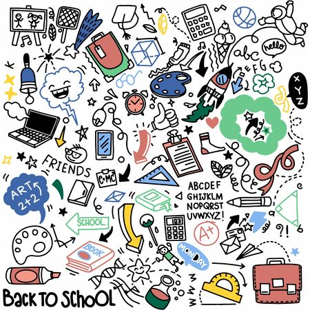 School clipart. Vector doodle school icons and symbols. Hand drawn stadying education objects