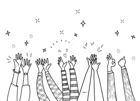Applause hand draw,hand drawn of hands clapping ovation. applause, thumbs up gesture on doodle style , vector illustration