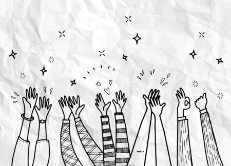 Applause hand draw,hand drawn of hands clapping ovation. applause, thumbs up gesture on doodle style , vector illustration Vektorgrafik