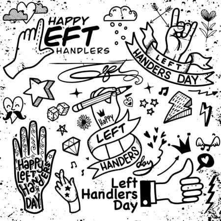 Left Handers Day. Hand drawn tattoo style. Vector calligraphy for posters, prints, cards, party decor