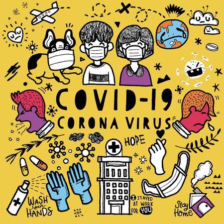 Vector illustration of Doodle cute for covid-19 corona virus, Hand Drawn Vector Illustration of Doodle, illustrator line tools drawing,Flat Design Ilustración de vector