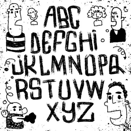Illustration, Lettering font isolated on white background. Texture alphabet. logo letters.