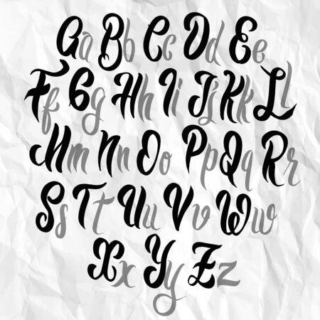Brush lettering font. Illustration alphabet. Hand Drawn Illustration of Doodle, illustrator line tools drawing,Flat Design Vettoriali