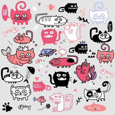 Activities Funny Doodle Cats Set . Vector Hand Drawn Illustration Pattern.