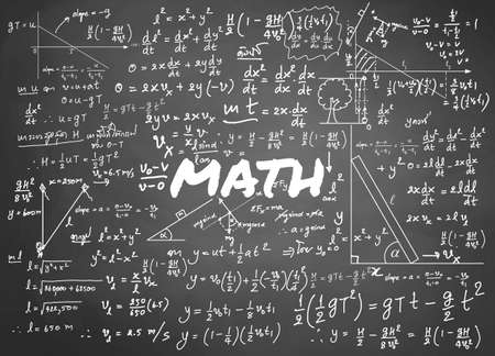 Mathematical formulas drawn by hand on the background