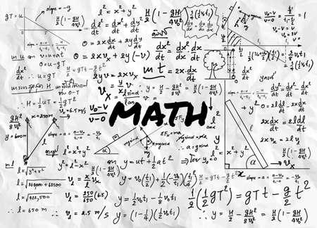 Mathematical formulas drawn by hand on the background Ilustración de vector