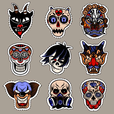 Halloween icon set. Hand-drawn vector illustration ,It can be used for halloween party, posters, greeting cards, fashion design. Vector Illustration