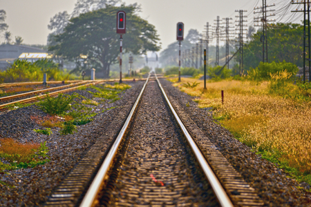 The train line stretches out to the end of destination Stock Photo