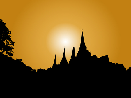 pagoda, temple in thailand background silhouette, vector Illustration