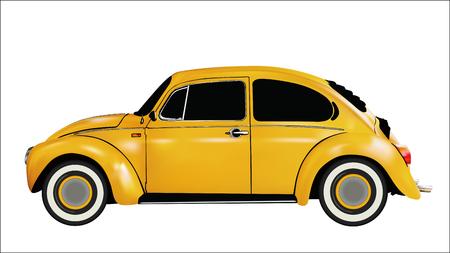 Yellow classic car vector 3D  イラスト・ベクター素材