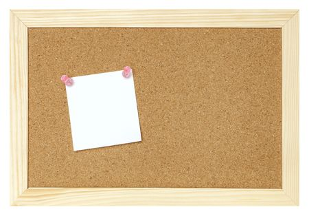 blank paper on cork board isolated  photo