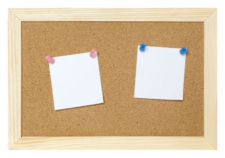blank papers on cork board isolated  photo