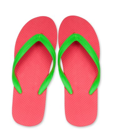 sandals isolated: red ang green flip flop sandals isolated