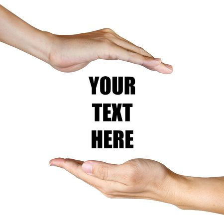 two hand between text Stock Photo - 8262591