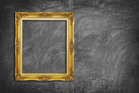 cracked concrete frame: Golden Frame on Concrete Wall