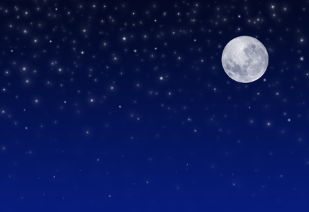 Night Sky with Stars and full Moon Stock Photo - 8325298