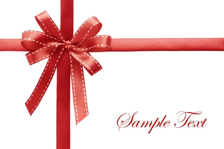 Shiny red satin ribbon on white background with copy space Stock Photo - 8325300