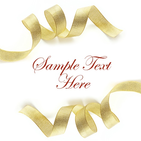 Shiny gold satin ribbon on white background with copy space Stock Photo - 8325305