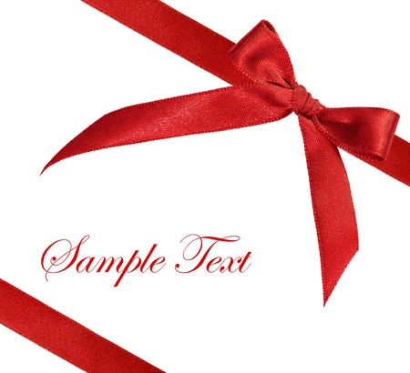 red bow: red ribbon on white background