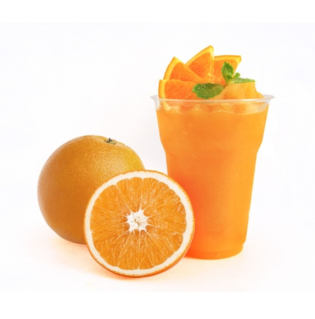 Orange Smoothie on white background photo