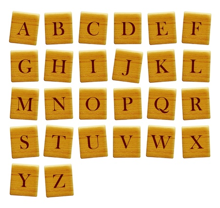 Separated alphabet blocks of all the letters Isolated Stock Photo