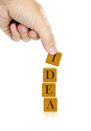 Hand and word Idea word,business concept isolated Stock Photo - 8457053