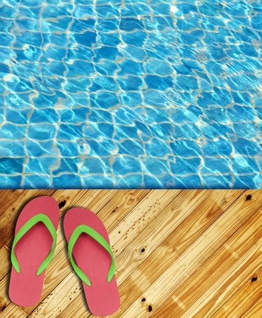 Wood Floor pool edge with surface of water background  photo
