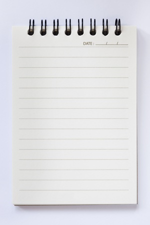 blank notebook on white background Stock Photo - 8580691