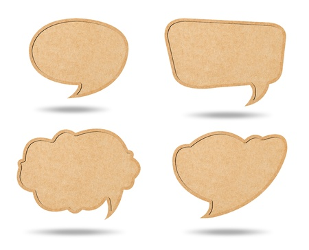 Four Style of Retro speech bubbles from Recycle Paper on white background Stok Fotoğraf
