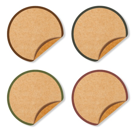Blank Circle Labels from brown Recycle paper photo