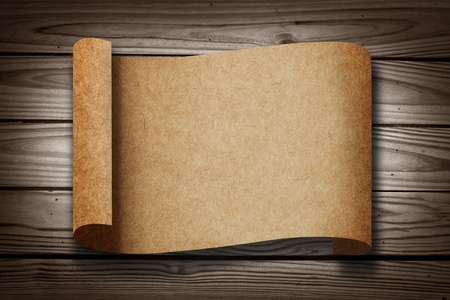 parchment scroll: Old blank Paper on Wood Texture Background
