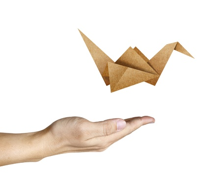 origami bird: Origami Bird flying from human hand Stock Photo