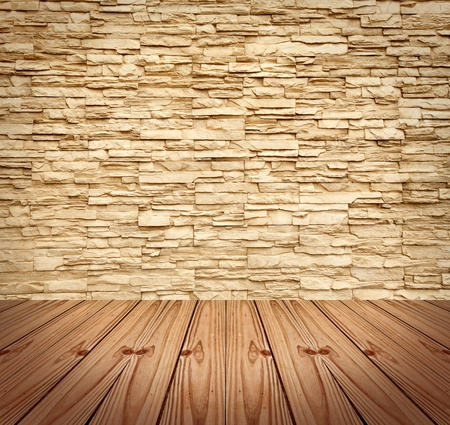 Blank Modern Brick Wall and wooden floor