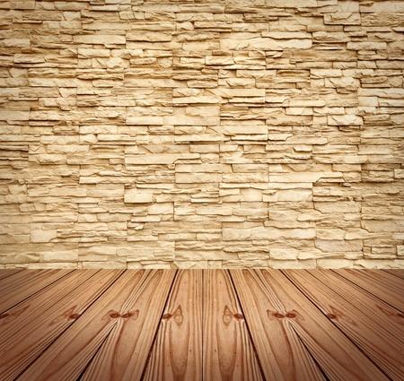 brick floor: Muro de ladrillo moderno en blanco y suelo de madera